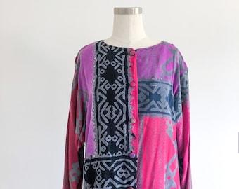 90s Rayon Print Dress by Synergy Art Threads