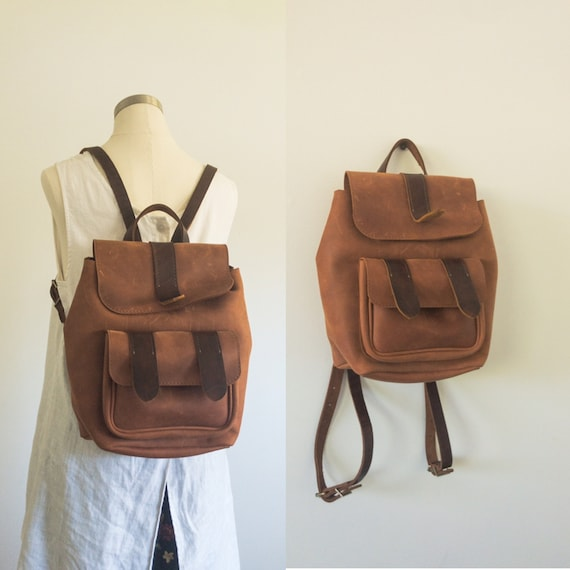 Two Tone Leather Backpack • Brown Leather Backpack