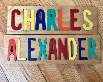Name Puzzles: Alexander and Charles - vintage 1970s letter puzzles