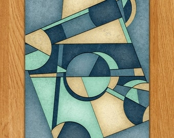 """Mid Century Inspired Geometric Abstract Composition - """"Shattered IV"""" - In Greens, Blues and Yellows - UNFRAMED Vertical Arch-C 18x24 Poster"""