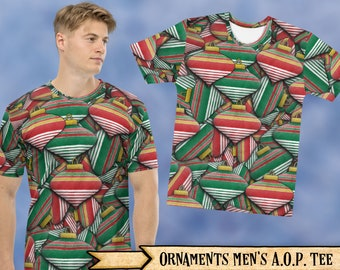 Christmas Ornaments All Over Print Men's T-shirt - Christmas Holiday Design AOP Tee For Festive Gatherings & Ugly Sweater Parties