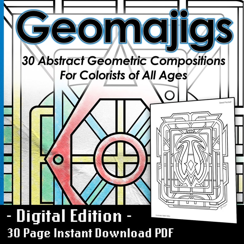 Geometric Abstract Art Coloring Book  30 Printable Pages  image 0