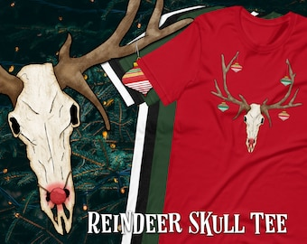 Reindeer Skull Short-Sleeve Unisex Graphic T-Shirt, Christmas/Halloween Hybrid Novelty Cartoon Design, Festive Alternative Apparel