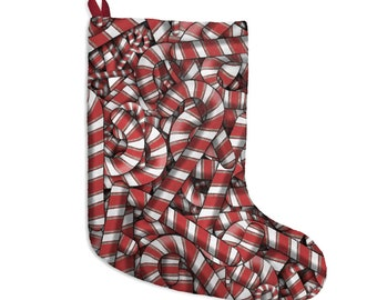 """Candy Cane Pile Design Christmas Stockings - """"Sugar Spiral"""" Red & White Vintage Style Drawings Repeated All Over Print Christmas Decoration"""