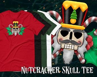 Nutcracker Skull Short-Sleeve Unisex Graphic T-Shirt, Christmas/Halloween Hybrid Novelty Cartoon Design, Festive Alternative Apparel
