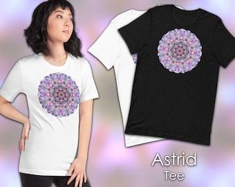 "Kaleidoscopic Star Short-Sleeve Unisex T-Shirt, Bright Pastel Mandala - ""Astrid"" - Psychedelic Fractal Tee"