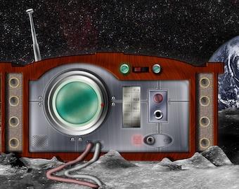 "Pop Surrealist Space Art ""Lunar Radio II"" Photo Paper Poster, Vintage Radio Shaped Moon Base Illustration 3:4 Landscape Unframed Print"