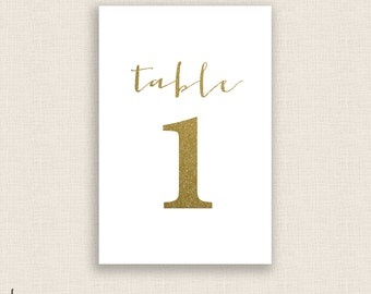 gold great diy printable table numbers 4x6 digital etsy