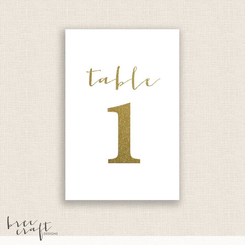 image about Diy Printable Table Numbers known as Do-it-yourself Printable Desk Figures - 4x6 Electronic Style - Figures 1-20 - Gold Calligraphy - Quick Down load