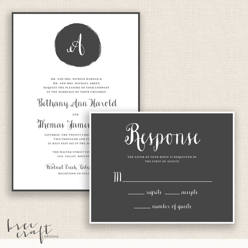 Invitation and Reply Card MODERN MONOGRAM DIY Printable Wedding Set
