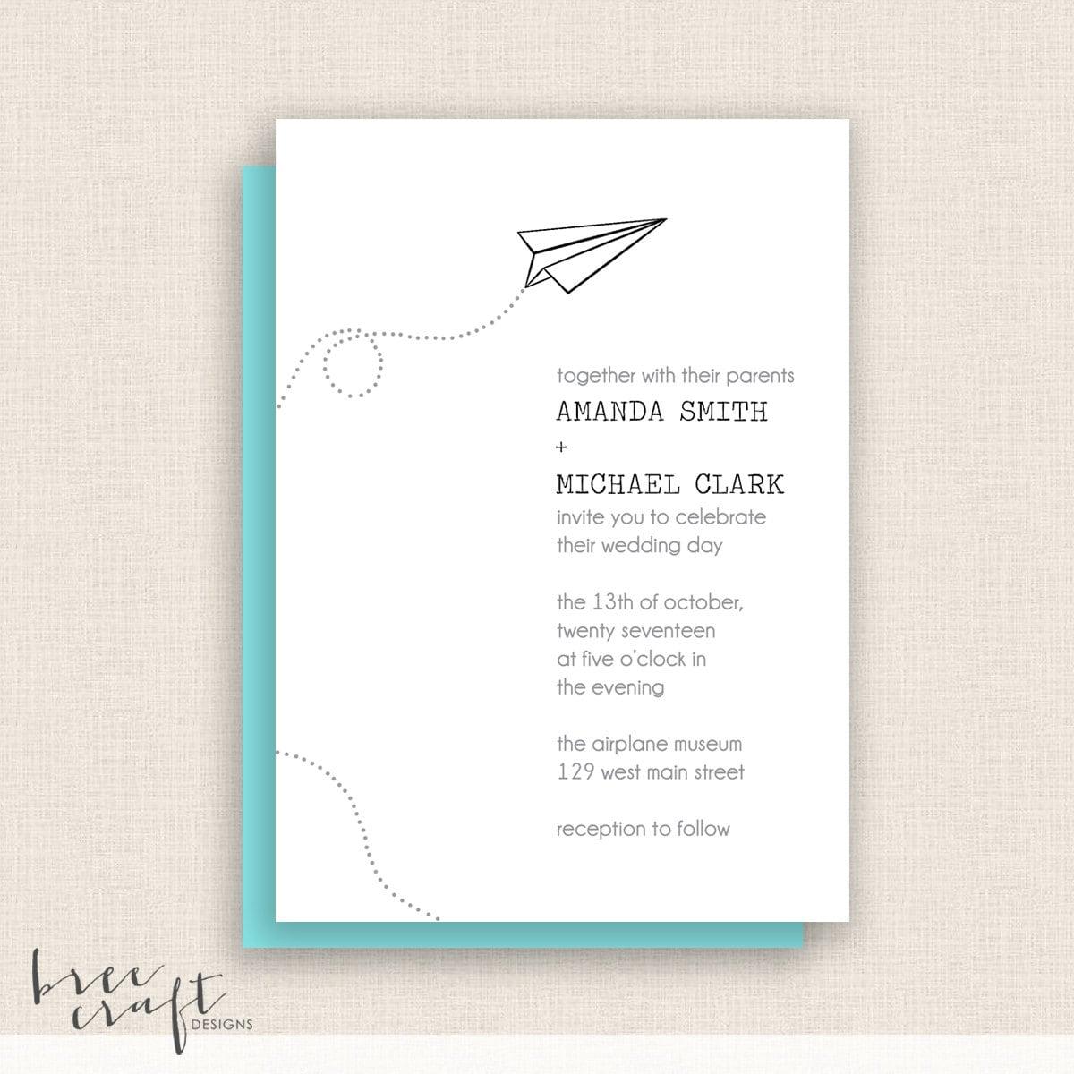 Airplane Birthday Invitation Diy Printable By Vindee On Etsy: PAPER AIRPLANE DIY Printable Wedding Invitation