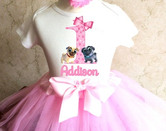 c23237801 Puppy Dog Pals Light Pink 1st First Girl Birthday Tutu Outfit Custom  Personalized Name Age Party Shirt Set Sequins Bow Headband