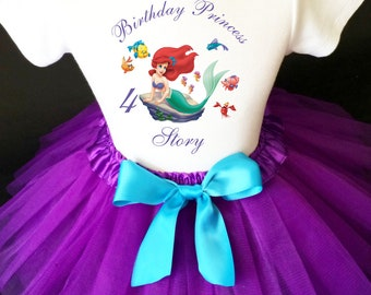 b7577def3 Princess Ariel The Little Mermaid purple blue 1st - 7th Birthday Custom Age  Name Baby Girl Birthday Tutu Outfit Sequins Headband Shirt Tee