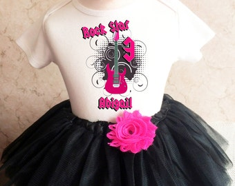 febadbdb31e5c5 Rock N Roll Guitar Star Hot Pink Black 3rd Third Girl Birthday Tutu Outfit  Custom Personalized Name Age Party Shirt Set