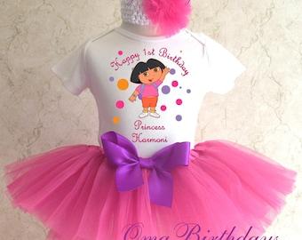 Birthday Dora the Ballerina Ballet Dancer Hot Pink Tutu Shirt Tee Set Girl Outfit 1st 2nd 3rd 4th 5th 6th 7th Headband Custom Age Birthday