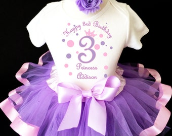 451261988e2f9 Princess crown light pink purple lavender polka dots 3rd Third Girl  Birthday Tutu Outfit Custom Personalized Name Age Party Shirt Set
