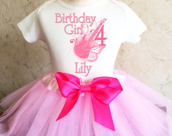 03e217655e9633 Rock N Roll Guitar Star Light Pink Butterfly 4th Girl Birthday Tutu Outfit  Custom Personalized Name Age Party Shirt Set