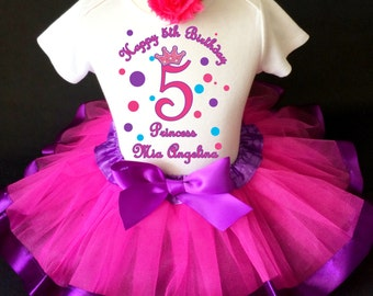 Bird Birds Purple Pink Flowers Number 5 5th Fifth Girl Birthday Tutu Outfit Custom Personalized Name Age Party Shirt Set