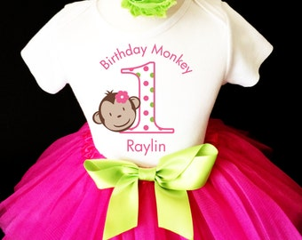 Monkey Mod Hot Pink Green Polka dots dotted 2nd Second Girl Birthday Tutu Outfit Custom Personalized Name Age Party Shirt Set