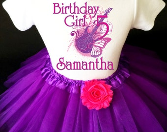 ff52a699b36e41 Rock n Roll Guitar Star Pink Purple 5th Fifth Girl Birthday Tutu Outfit  Custom Personalized Name Age Party Shirt Set