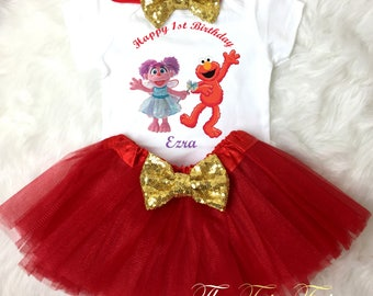 6e9118deb Abby Cadabby Elmo Red Gold 1st First Birthday Custom Age Name Baby Girl Birthday  Tutu Outfit Sequins Headband Shirt Tee Party Dress Up