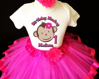 3dc2b684f Mod Monkey Hot Pink Face Flower 1st First Girl Birthday Tutu Outfit Custom  Personalized Name Age Party Shirt Set
