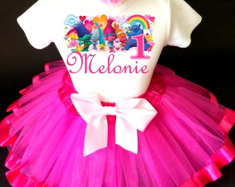 e6bd54cac Trolls Poppy Pink Rainbow 1st First Birthday Custom Age Name Baby Girl Birthday  Tutu Outfit Sequins Headband Shirt Tee Party Dress Up