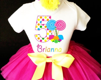 bff934a8b So Sweet to be Candy Candyland Lollipops Pink Rainbow 5th Fifth Girl  Birthday Tutu Outfit Custom Personalized Name Age Party Shirt Set