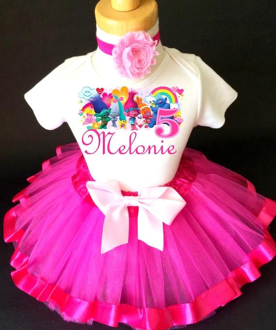 Trolls Rainbow Birthday Tutu Set Outfit Your Child/'s Name