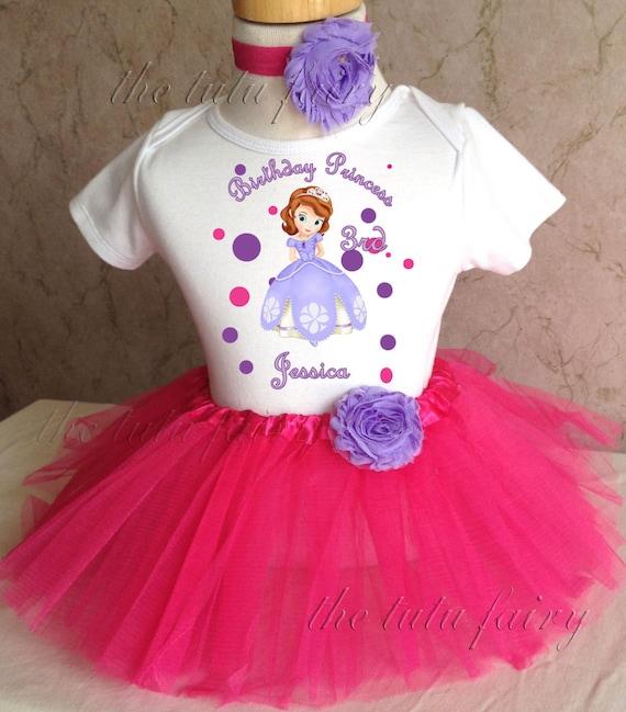 1st Birthday Girl Tutu Shirt Set Outfit Pink Purple Princess Sofia the First sq