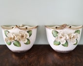 Ceramic Wall Planter, Wall Pockets, An Enterprise Exclusive 3D Flower Design, Shabby Chic, Cottage Decor, Hand Painted