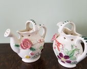 Ceramic Wall Pocket Tea Pot, Two Porcelain Wall Planters, Made In Japan, Cottage Decor, Tea Time