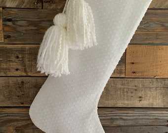 All white Christmas stocking chenille dots