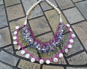 Hiacynth Wire Crochet Statement Bib Necklace with Coin and Fresh Water Pearls