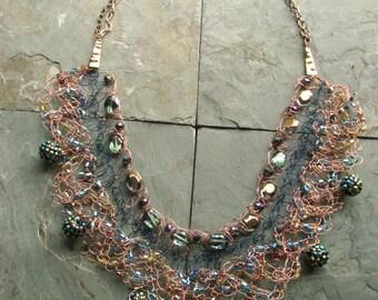 Cleopatra Wire Crochet Statement Bib Necklace