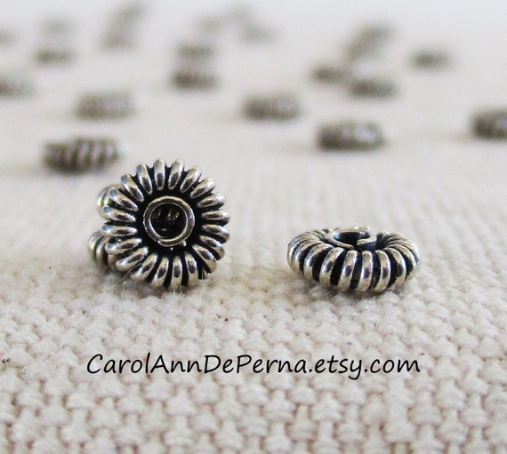 sterling silver 3mm corrugated spacers fluted rondelle beads Pack of 250