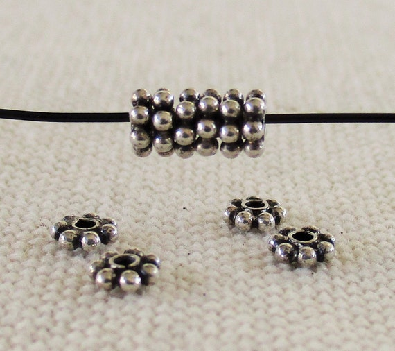 100 Pieces 925 Sterling Silver Handcrafted Bali Daisy Spacer Bead 3mm free ship