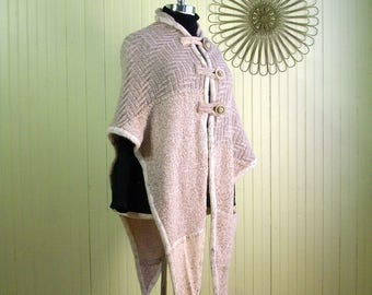 Knit Poncho/Knit shawl/Altered Clothing/Upcycled Sweater/Size XL/Beige/Brenda Abdullah