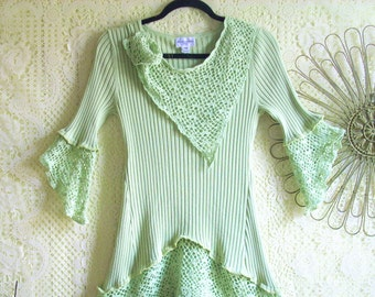 SALE: X-Small Upcycled Crochet Tunic Top/Boho/Altered Clothing/Mint Green/ by Brenda Abdullah