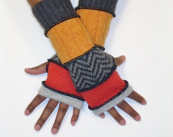 Fingerless Gloves, Armwarmers, Patchwork gloves (Light Grey/Pumpkin/Grey,Black ZigZag/Yellow Orange/Dk. Grey) by BrendaAbdullah