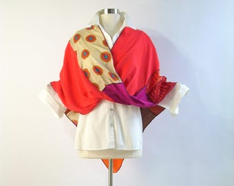 Mobius Shawl/ Mobius Wrap/Spring Summer Shawl/Patchwork Poncho/Orange,Magenta/by Brenda Abdullah
