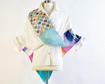 Mobius Wrap/Infinity Shawl/Twisted Mobius Wrap/Pastel Multi-Color Silk Wrap by Brenda Abdullah