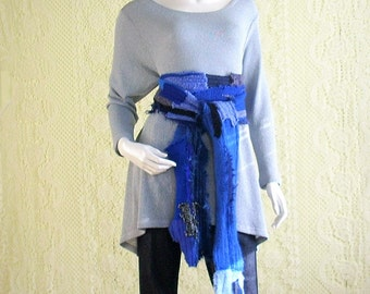 Knit Scarf/Upcycled Scarf/Long Narrow/patchwork Knit Scarf/Blue, Black Grey/brenda abdullah