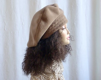 500b1c3cc394b Size M Fleece Beret Over Sized Fleece Tam Hats for Dreadlocks Hats for  Larger Heads Tan Color Size Medium 23 inch Headband