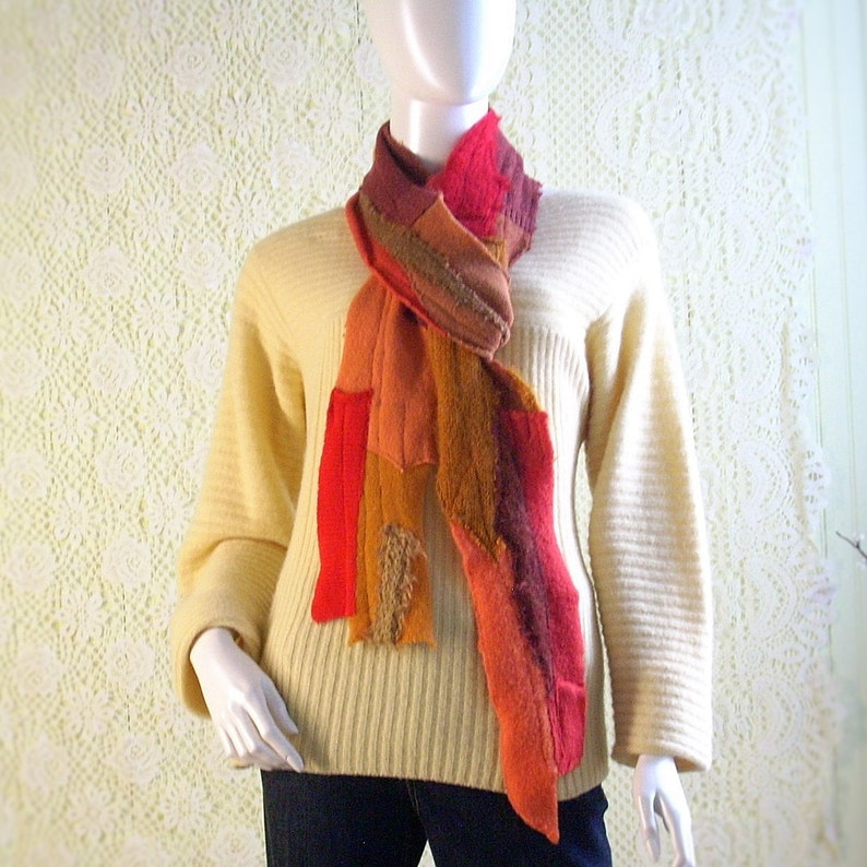Long Patchwork Scarf/Upcycled Knit Scarf/Art Scarf/Bohemian image 0