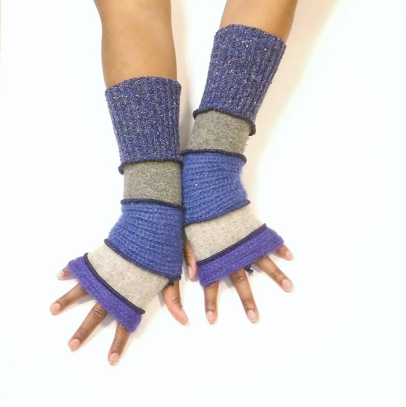 Fingerless Gloves Wrist Warmers Purplu Mohair/Light image 0