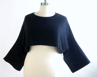 XL Cropped Shrug/Cropped Over Sized Top/Black/Plus Size Cover Up/One Size