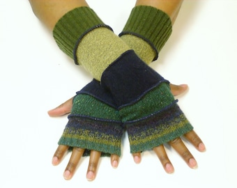 Fingerless Gloves, Hand Warmers, Arm Warmers (Green, Navy Stripe/Evergreen/Navy Blue/Taupe/Olive Green) by Brenda Abdullah