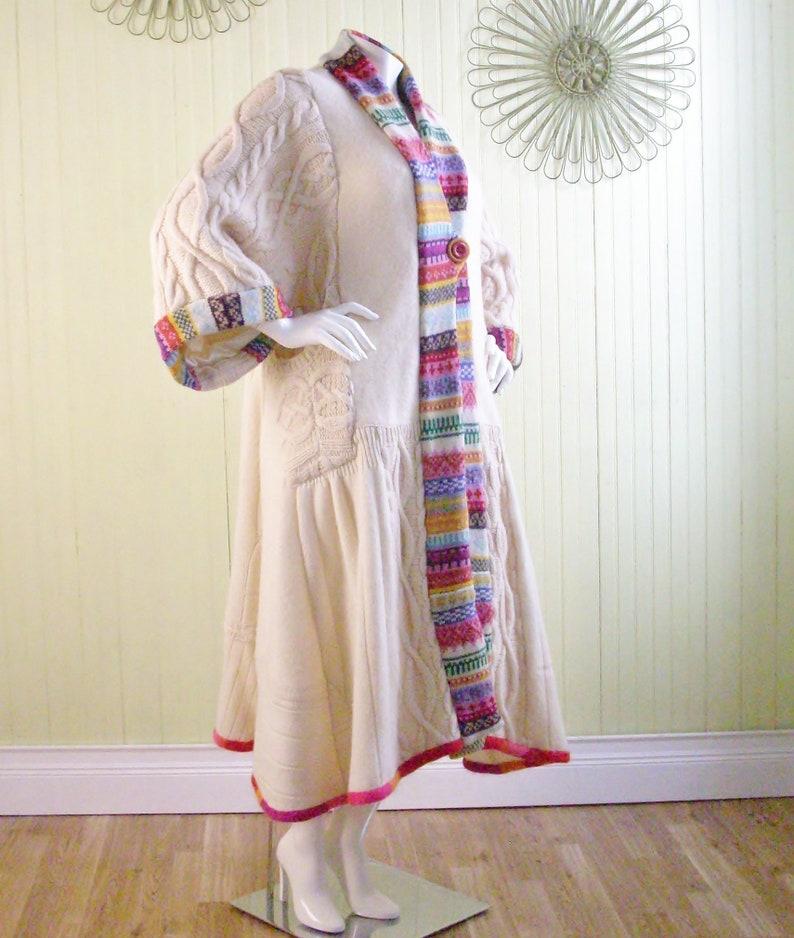 XL Long Sweatercoat/Repurposed Boho Clothing/Refashioned image 0