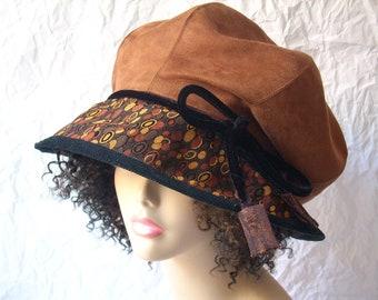 Hat/Size L-XL Brim Hat /Chestnut Faux Suede Hat/Slouchy Crown Hat/Quilted  Adjustable Brim/Dreadlock Hat by Brenda Abdullah